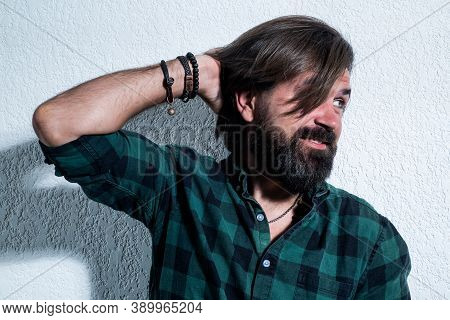 Perfect Male. Male Barber Care. Confident And Handsome Brutal Guy. Charisma. Brutal Bearded Man Wear