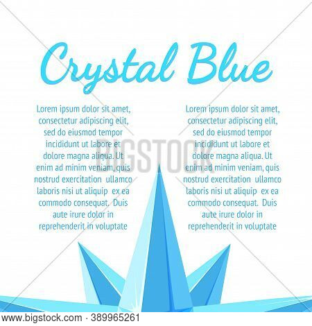 Ice Crystal Banner Design With Text. Leaflet With Blue Icy Crystals. Vector Illustration In Cartoon