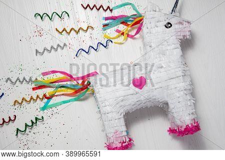 Background White And Rainbow Unicorn Piñata, White Background, White And Rainbow Unicorn Piñata, Whi