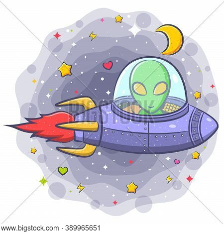 Scary Alien In A Flying Saucer Cartoon Character