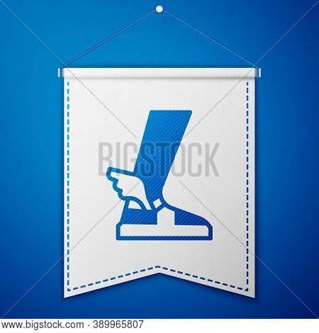 Blue Hermes Sandal Icon Isolated On Blue Background. Ancient Greek God Hermes. Running Shoe With Win