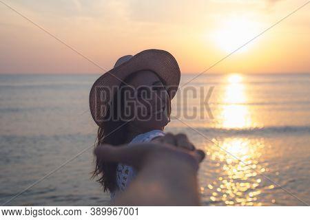 Beautiful Woman Smiling On Beach. People In Vacation Lifestyle. Beautiful Woman Smiling On Beach. Pe