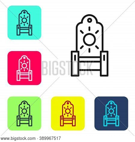 Black Line Medieval Throne Icon Isolated On White Background. Set Icons In Color Square Buttons. Vec