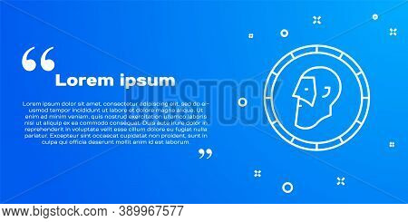 White Line Ancient Coin Icon Isolated On Blue Background. Vector