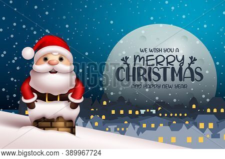Merry Christmas Vector Background Design. Merry Christmas Text With Santa Claus Character In Chimney