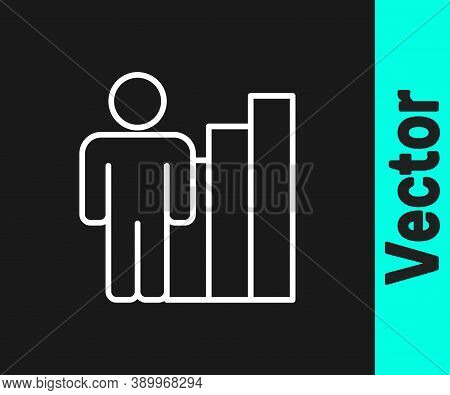 White Line Productive Human Icon Isolated On Black Background. Idea Work, Success, Productivity, Vis