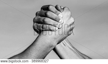 Hand, Rivalry, Vs, Challenge, Strength Comparison. Two Muscular Hands. Rivalry Concept. Two Men Arm