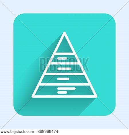 White Line Business Pyramid Chart Infographics Icon Isolated With Long Shadow. Pyramidal Stages Grap