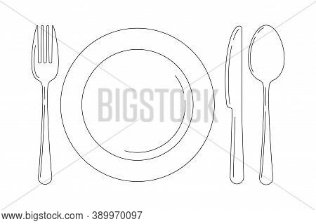 Silverware Line Art Icon Set Isolated On White Background. Top View Lineart Cutlery - Fork Knife Spo