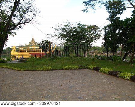 Vintage Karaweik Palace In Yangon, Rangoon, Myanmar
