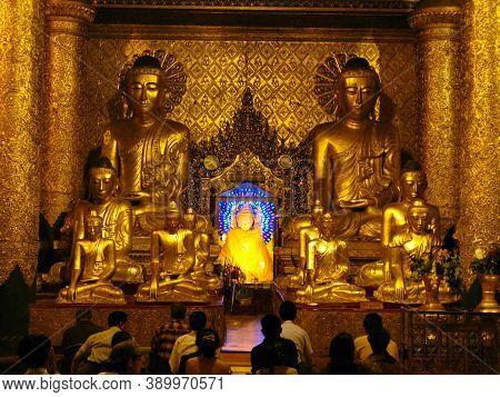 Yangon, Myanmar - 04 Jan 2010: Shwedagon Pagoda At Night In Yangon, Rangoon, Myanmar