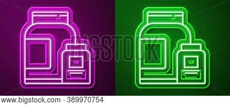 Glowing Neon Line Sports Nutrition Bodybuilding Proteine Power Drink And Food Icon Isolated On Purpl