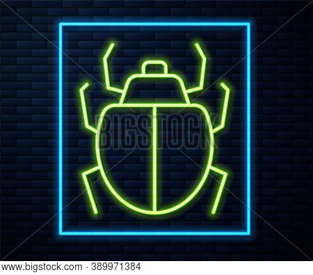 Glowing Neon Line Mite Icon Isolated On Brick Wall Background. Vector