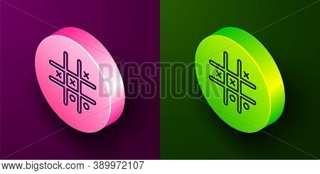 Isometric Line Tic Tac Toe Game Icon Isolated On Purple And Green Background. Circle Button. Vector