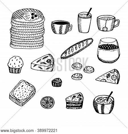 Hot Breakfast Set Vector Illustration Pancakes Drinks Pastries Desserts Sandwich Pizza Porridge And