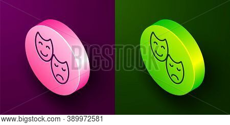 Isometric Line Comedy And Tragedy Theatrical Masks Icon Isolated On Purple And Green Background. Cir