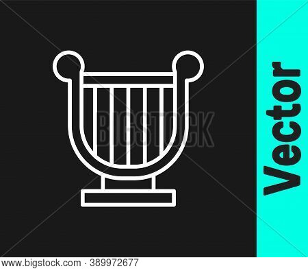 White Line Ancient Greek Lyre Icon Isolated On Black Background. Classical Music Instrument, Orhestr
