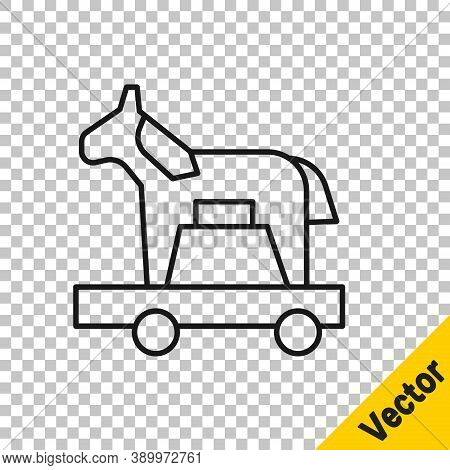 Black Line Trojan Horse Icon Isolated On Transparent Background. Vector