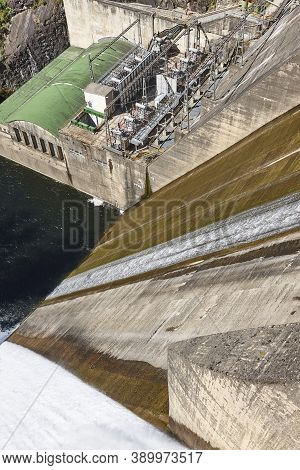 Dam Floodgates In Sil River. Os Peares, Galicia. Spain