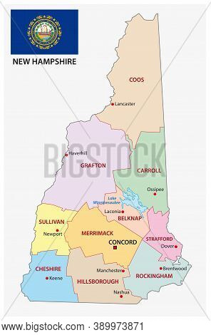 New Hampshire Administrative Vector Map With Flag