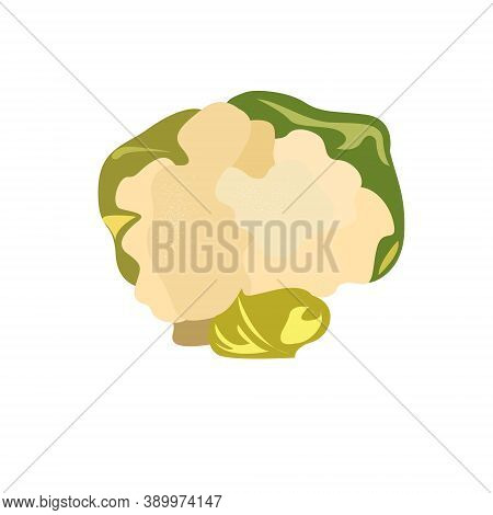 Cauliflower Inflorescences Whole With Leaves On A White Background