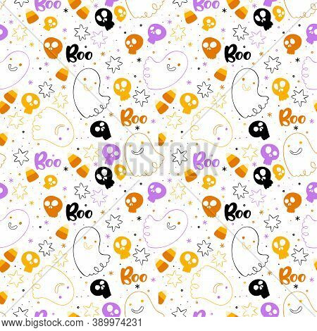 Halloween Background. Lettering. Skulls, Ghosts And Candy. Halloween Sweets. Holiday Cartoon Print.