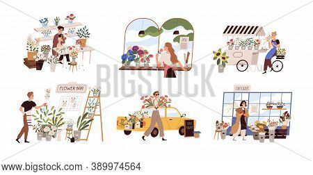 Set Of People Work At Florist Shop Or Store. Woman Compose Bouquet On Table, Man Spray, Hold, Carry