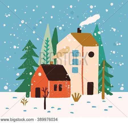 Hand Drawn Winter Landscape With Houses, Trees And Snowflakes Vector Flat Illustration. Colorful Rus
