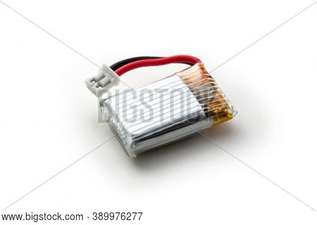LIPO battery. A micro lithium polymer battery, or lithium-ion polymer battery with connector isolated on white.