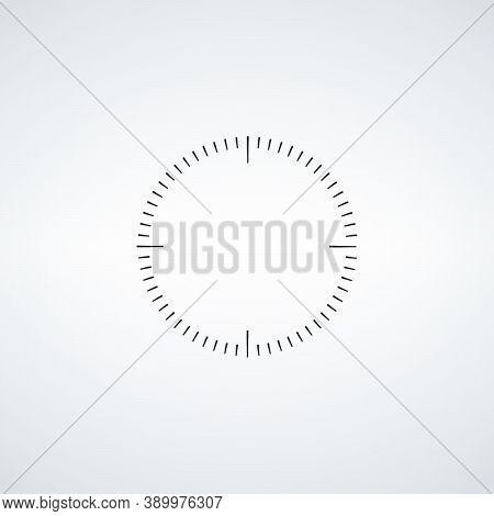 Clock Face. Blank Hour Dial. Dashes Mark Minutes And Hours. Stock Vector Illustration Isolated On Wh