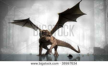 dragon in fog on ruins background