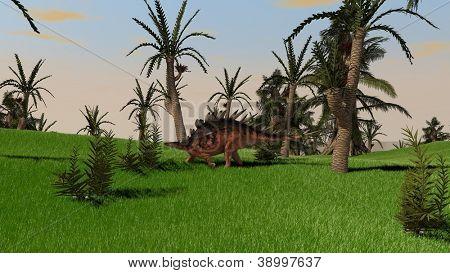 kentrosaurus in jungle