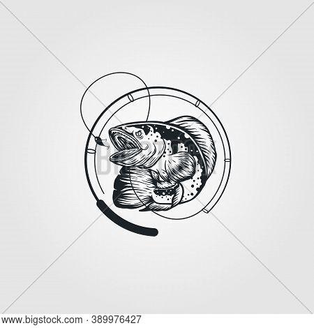 Snakehead Fish Vintage Logo With Fishing Rod Vector Illustration Design