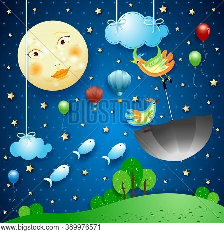 Surreal Night With Full Moon And Flying Umbrella And Fishes. Vector Illustration Eps10