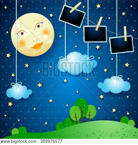 Surreal Night With Full Moon And Photo Frames, Vector Illustration Eps10