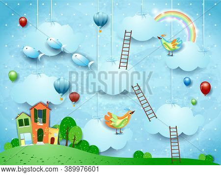 Surreal Landscape With Village, Stairways, Balloons, Birds And Flying Fishes. Vector Illustraton Eps