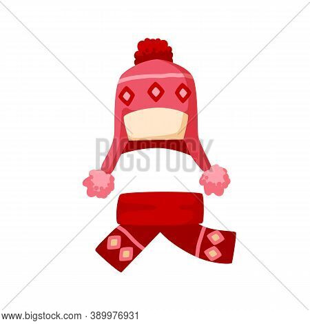 Ornamented Knitted Childish Chullo And Girly Scarf. Winter Pink Earflap Hat With Pompom For Children