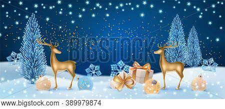 Christmas Winter Holiday Night Landscape With Golden Deer Statuette, Gift Box And Christmas Balls