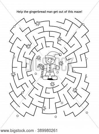 Maze Game And Coloring Page For Kids: Help The Gingerbread Man Get Out Of The Maze!