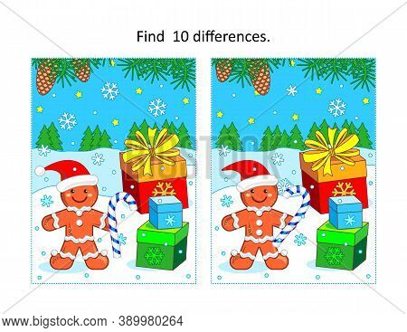 Winter Holidays, Christmas Or New Year Themed Find 10 Differences Visual Puzzle With Gingerbread Man