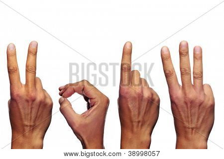 man hands forming number 2013 on a white background