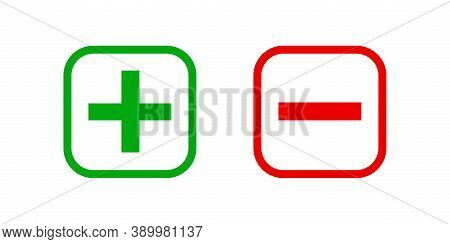 Square Minus And Plus Sign Icons Graphic, Negative And Positive Symbol Isolated On White, Anode Cath