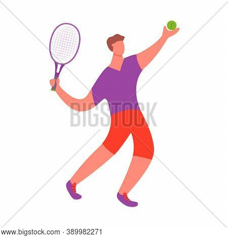 Tennis Player Man Hitting Ball With Racket.a Male Athlete Doing Sport.