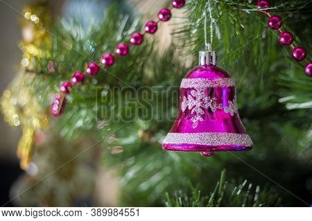 Decorated Christmas Tree Closeup. Christmas Tree Decorated With Decorative Toys, Decorative Small St