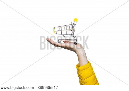 Hand Holding Shopping Cart On White Background. Concept Of Buy Shopping Cart, Online Shopping, Shopp