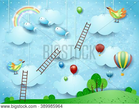 Surreal Landscape With Stairways, Birds, Balloons And Flying Fisches. Vector Illustration Eps10