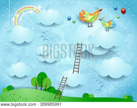 Fantasy Landscape With Stairways And Birds Over The Clouds. Vector Illustration Eps10