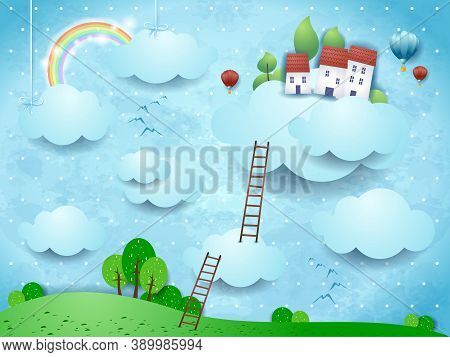 Fantasy Landscape With Clouds, Village And Stairways. Vector Illustration Eps10