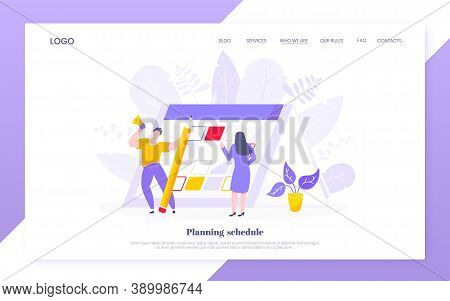 Calendar Planning Schedule Business Concept Vector Illustration. Tiny People With Large Pencil, Do W