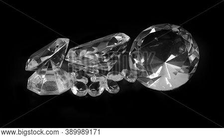 Large Pile Of Luxury Sparkling Diamonds On Black Background